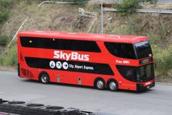Skybus double decker #104 arrives at Southern Cross