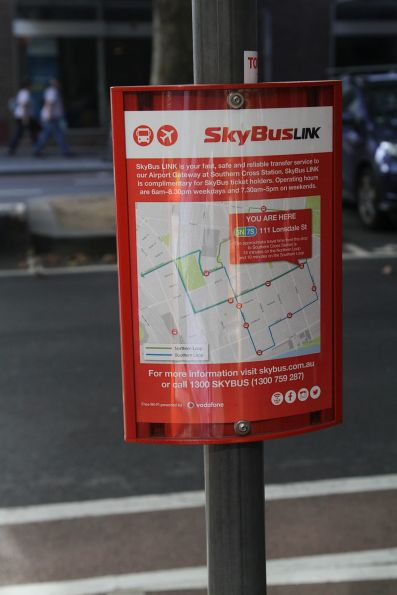 SkyBus shuttle stop at Lonsdale and Exhibition Street