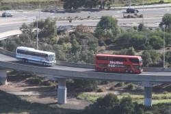 SkyBus double decker joins CityLink at Footscray Road