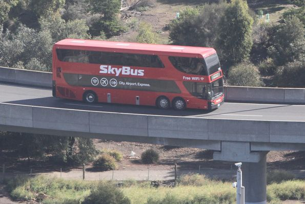 SkyBus double decker #112 joins CityLink at Footscray Road