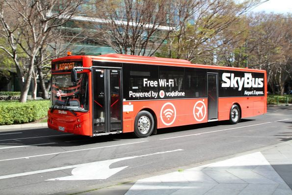 Skybus Melbourne bus #204 7093AO on the Southbank and Docklands service at Power and Queensbridge Street