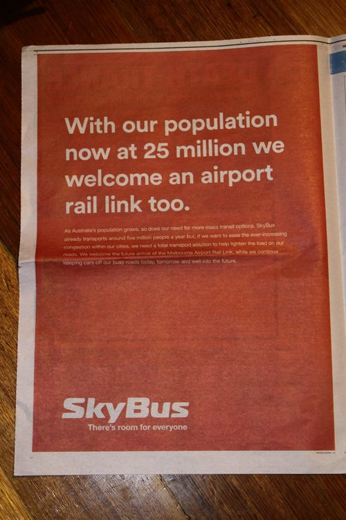 'We welcome an airport rail link too' advertisement in the Herald Sun from SkyBus