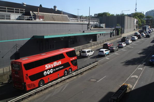 SkyBus double decker #110 stuck in traffic on Dudley Street