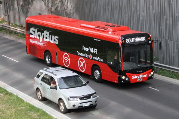 Skybus Melbourne bus #212 BS03KL on the Southbank service at Wurundjeri Way and Bourke Street