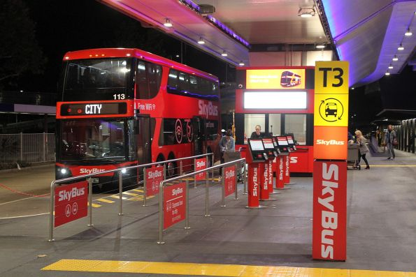 Tuesday, 12 March - SkyBus double decker #113 at Melbourne Airport terminal 3