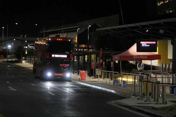 SkyBus double decker #104 out of service at Melbourne Airport terminal 4