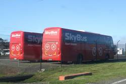 Pair of SkyBus Melbourne coaches in the Avalon Airport layover yard