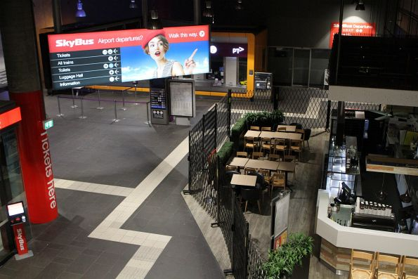 SkyBus end of Southern Cross Station closed up for the night