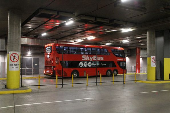 SkyBus Melbourne double decker awaiting departure time from Southern Cross