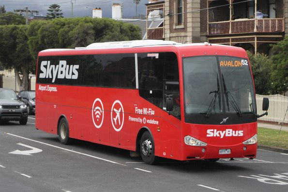 SkyBus coach #52 6975AO on a Avalon to Geelong service at South Geelong station
