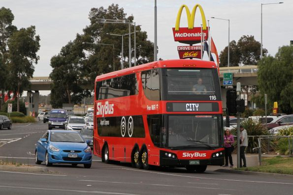 SkyBus Melbourne double decker #116 BS04NV departs Melbourne Airport for the city