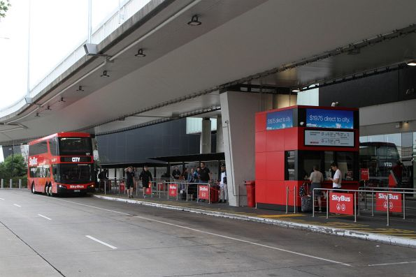 SkyBus Melbourne double decker #117 outside terminal 1 at Melbourne Airport