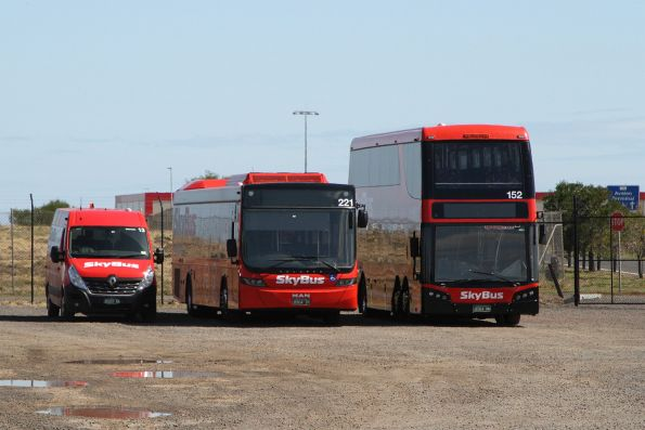 Small, medium and large SkyBus Melbourne buses between runs at Avalon Airport
