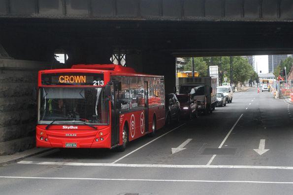 SkyBus Melbourne #213 BS03KK on a Southbank service at Flinders and Spencer Street