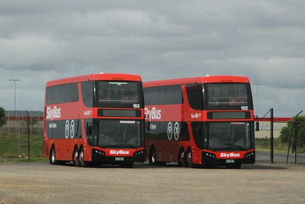 SkyBus Melbourne double deckers #153 BS04NQ and #152 BS04NN between runs at Avalon Airport