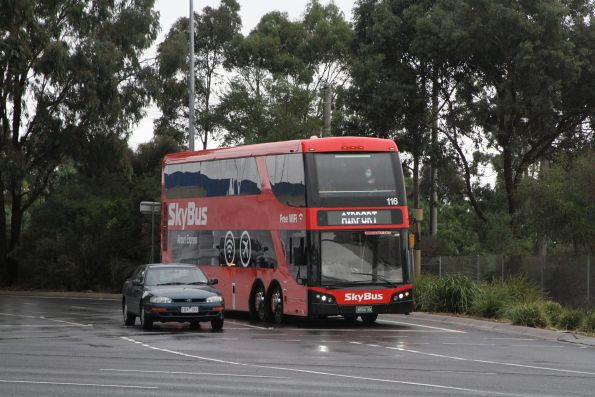 SkyBus Melbourne double decker #116 BS04NV exits CityLink bound for Southern Cross Station