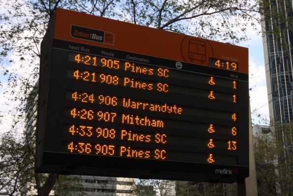 Lonsdale Street SmartBus PIDS finally switched on, at the Hardware Street stop