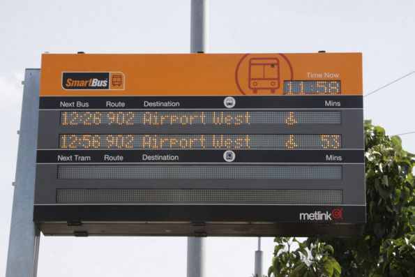 Smartbus PIDS at the route 59 tram terminus at Airport West