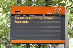 'Please refer to the printed timetable' notice on a failed Smartbus next bus display
