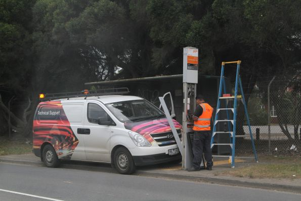 PTV contractor repairing a defective SmartBus stop on Somerville Road, Brooklyn