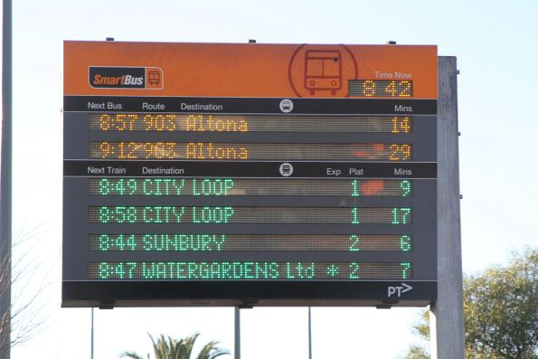 'Watergardens Ltd *' service on the SmartBus PIDS at Sunshine station