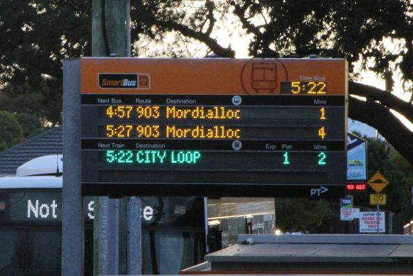 Phantom route 903 service on the Smartbus PIDS in Altona