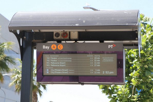 Next bus and train departures listed at the Frankston station bus interchange