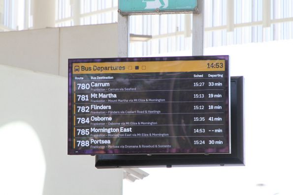 Next bus departures listed at the Frankston station exit