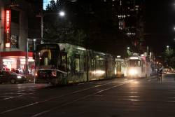 Impenetrable tram jam at the corner of Swanston and La Trobe Streets