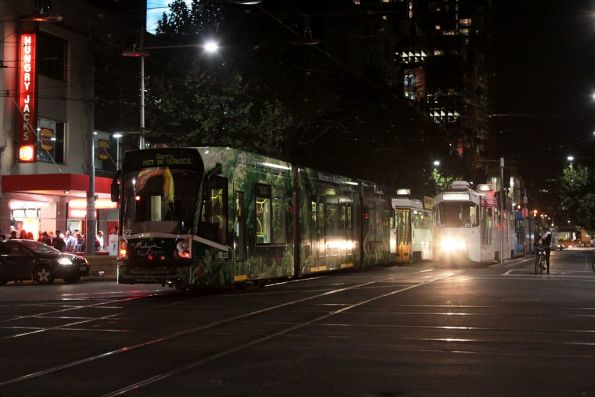 Snookered trams on Swanston Street