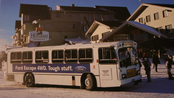Photo of an ex-Sydney bus at Mount Hotham, in the days before the grey livery