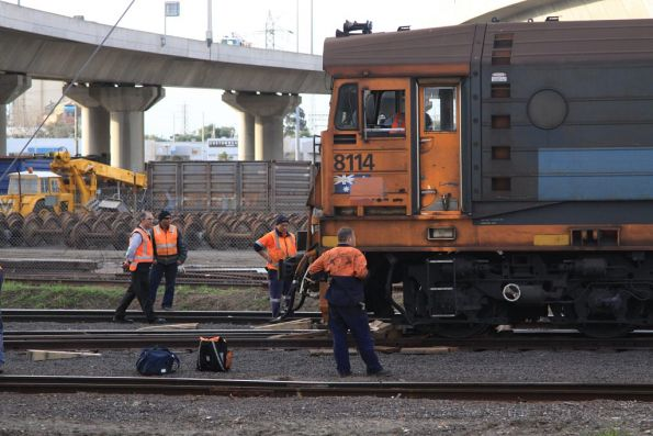 Getting a derailed 8114 back onto the tracks near the Melbourne Operations Terminal