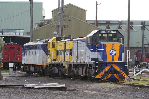 CFCLA S300, SSR liveried T376 and CFLCA T373 at South Dynon, with S302 stored in the background