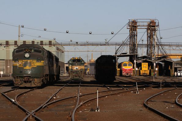 Broad gauge locos at South Dynon - A79, X37, P20 in the shadows, N469 and XR551
