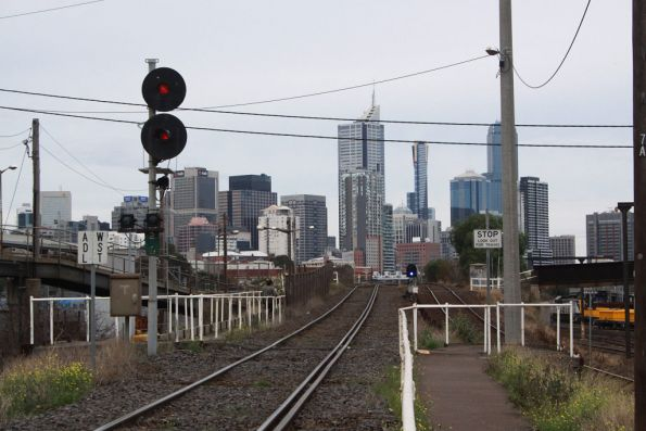 Signal 218 for up trains approaching the North Melbourne flyover
