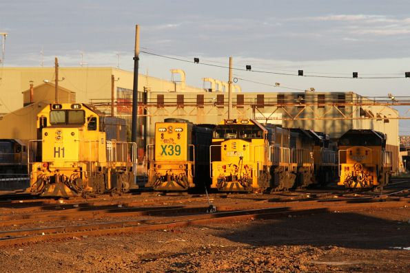 H1, X39, XR551 and XR551 lead stabled locomotives at South Dynon