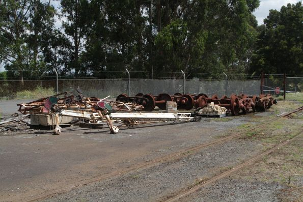 Old signals and wheelsets in storage at Korumburra
