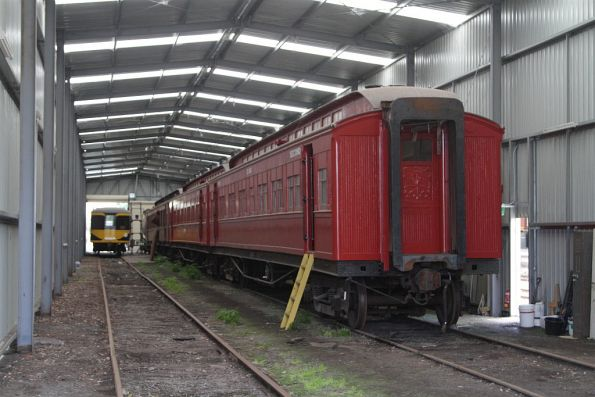 32ABU and 40ABU under restoration in the carriage shed at Korumburra