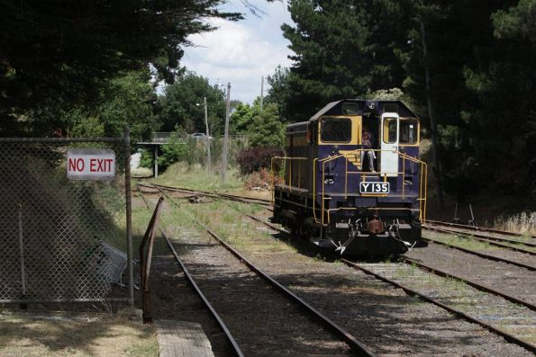 Y135 running around the train after our arrival at Leongatha