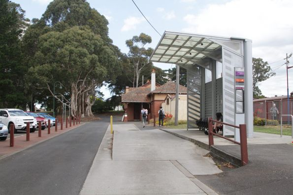 V/Line bus stop opposite the station at Leongatha