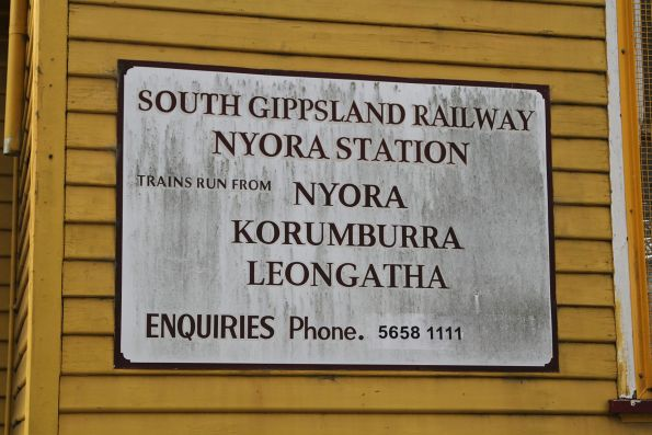 South Gippsland Railway signage still in place at Nyora station