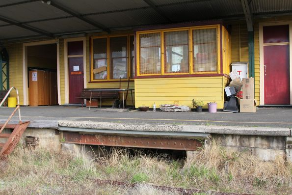 Signal bay in the railway station building at Nyora