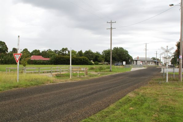 Rails asphalted over at the Nyora level crossing