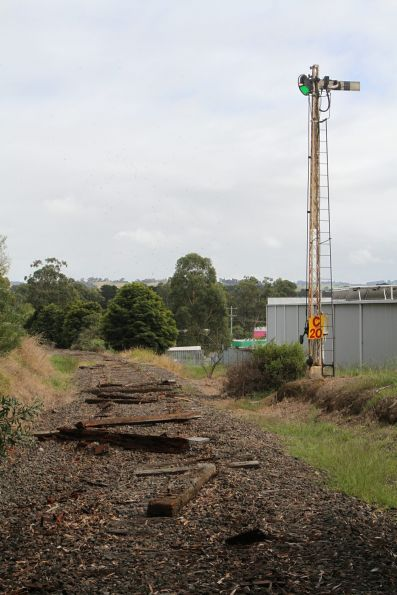 Home signal still in place at Leongatha station, but the rails removed