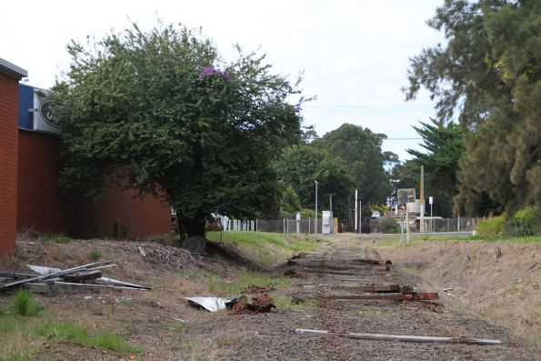 Rails removed from the alignment west of Leongatha station
