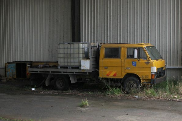 Hi-rail works truck left behind in the yard at Korumburra