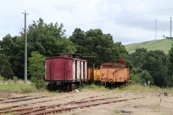 Guards van, tank wagons and a few GY wagons left behind in the yard at Korumburra
