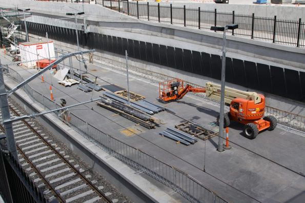 Work continues on the island platform at South Morang