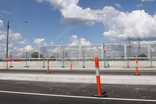 Welded mesh security screens on the Civic Drive bridge over South Morang station
