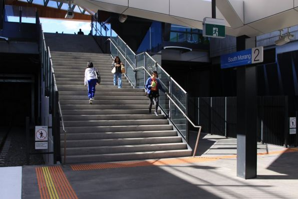 Stairs at South Morang from the platform to the concourse